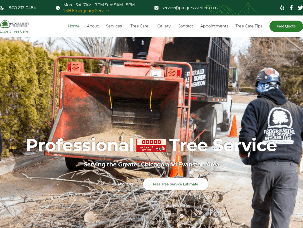 Progressive Tree Service website redesign